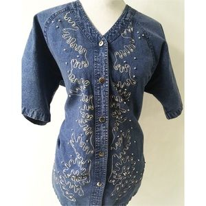 Silver Button /Jean Vintage Top Size Small
